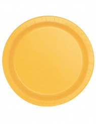 16 piatti in cartone color giallo girasole 22 cm