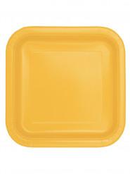 14 piatti quadrati in cartone giallo girasole 22 cm