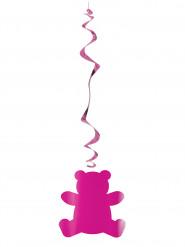 6 sospensioni fucsia con orsetto rosa