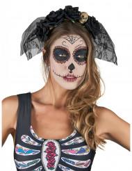 Cerchietto con velo nero Dia de los muertos per adulti