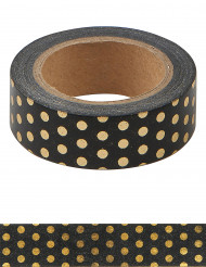 Washi tape nero con pois dorati