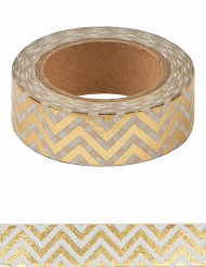 Washi tape zig zag color oro