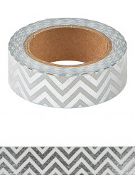 Washi tape zig zag argento