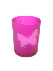 Portacandele in vetro con farfalla fucsia