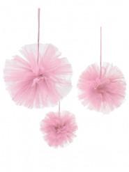 3 pon pon di tulle rosa da appendere