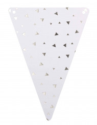 5 gagliardetti di cartone bianchi a triangoli argento