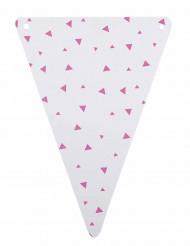 5 gagliardetti di cartone bianchi a triangoli fucsia