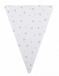 5 gagliardetti di cartone bianchi a triangoli color menta