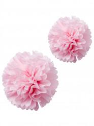 2 pon pon in carta velina rosa 40 e 50 cm