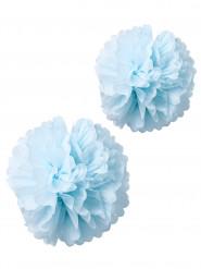 2 pon pon in carta velina celesti 40 e 50 cm