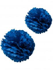 2 pon pon in carta velina blu 40 e 50 cm