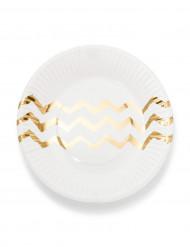 12 piattini in cartone bianchi a zig zag dorati 18 cm