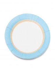 12 piattini in cartone con bordo celeste 18 cm