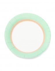 12 piattini in cartone con bordo color menta 18 cm