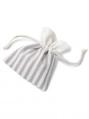 5 sacchetti in cotone a righe bianche e avorio