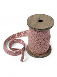 Bobina di nastro di merletto rosa antico