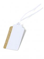 10 etichette bianche e oro