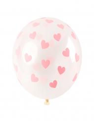 6 palloncini trasparenti con cuori rosa