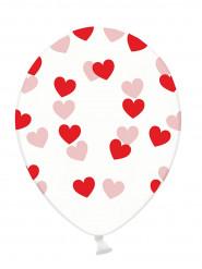 6 palloncini trasparenti con cuori rossi