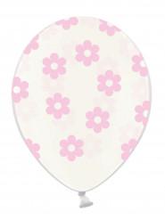 6 palloncini trasparenti con fiori rosa chiaro