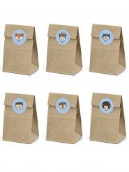 6 Sacchetti in carta kraft con adesivi foresta