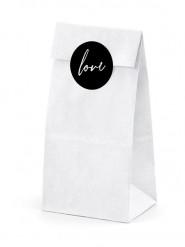 6 sacchetti bianchi con etichette Love