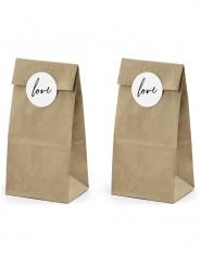6 sacchetti kraft con etichette Love