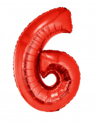 Palloncino alluminio gigante rosso numero 6