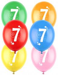 12 palloncini in lattice colorati con stelle numero 7