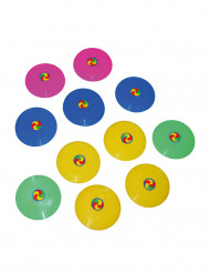 12 Mini frisbee colorati 7 cm