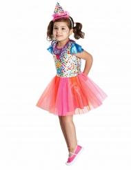 Travestimento da clown multicolore a pois per bambina