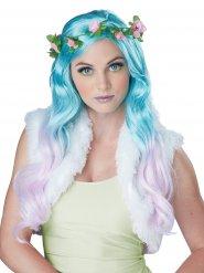 Parrucca da fata turchese con fiori donna