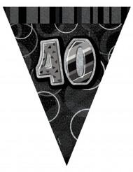 Ghirlanda con bandierine grigia 40 anni
