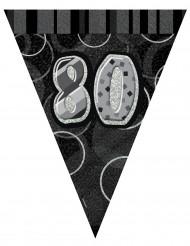 Ghirlanda di bandierine nere e grige 80 anni