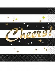 16 tovagliolini neri ed oro Cheers