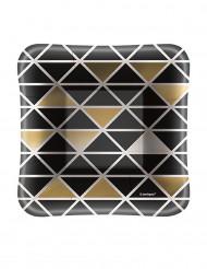 8 piattini quadrati neri e dorati 12.5 cm