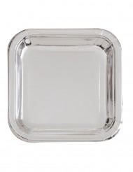 8 piatti quadrati argento metallizzato 23 cm