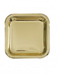 8 piatti quadrati oro metallizzato 23 cm