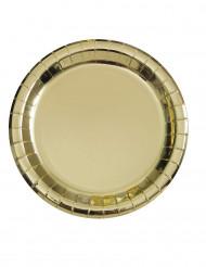 8 piatti in cartone oro metallizzato 23 cm