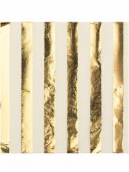 16 tovaglioli a righe bianco e oro