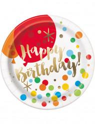 8 piatti di carta Happy Birthday multicolore e dorata