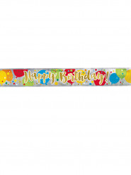 Banner Happy Birthday multicolor e oro