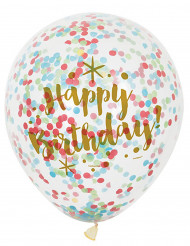 6 palloncini Happy Birthday con coriandoli multicolor