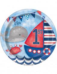8 piatti in cartone 1° compleanno marinaio 23 cm