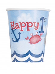 8 bicchieri in cartone 1° compleanno marinaio