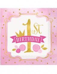 16 tovaglioli di carta rosa e oro 1° compleanno