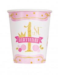 8 bicchieri di cartone 1 anno rosa e oro