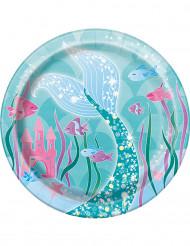 8 piattini di cartone sirena blu 17 cm
