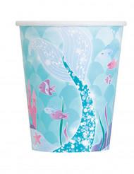 8 bicchieri in cartone sirena blu
