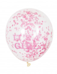 6 palloncini in lattice it' a girl con coriandoli